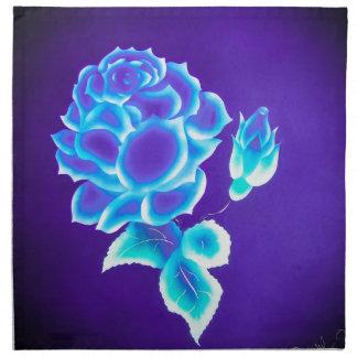 Rosa azul servilleta imprimida