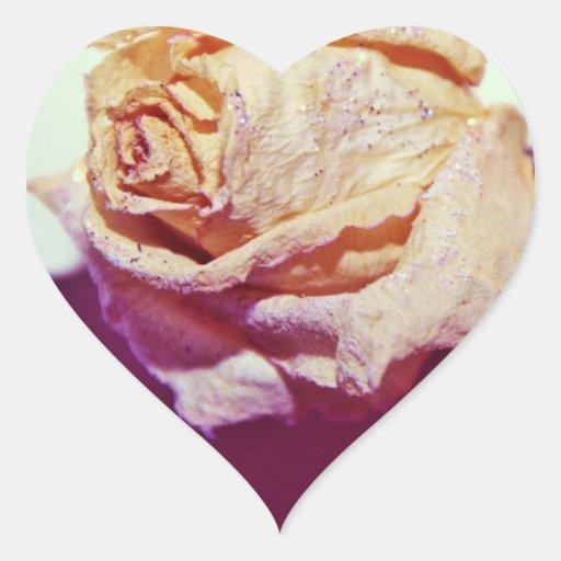 Rosa blanco con las chispas calcomanías corazones personalizadas