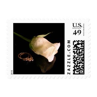Rosa blanco con los anillos de bodas sello