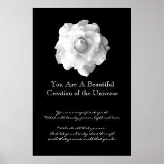 Rosa blanco de la inspiración poster
