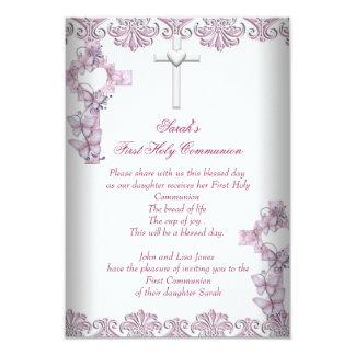Rosa blanco de los primeros chicas cruzados de la invitación 8,9 x 12,7 cm