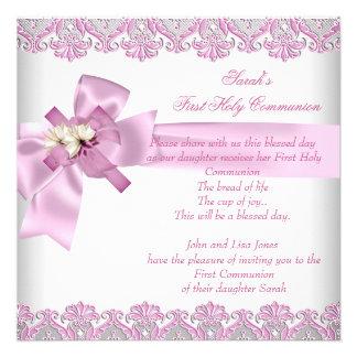 Rosa blanco de los primeros chicas cruzados de la  invitacion personalizada