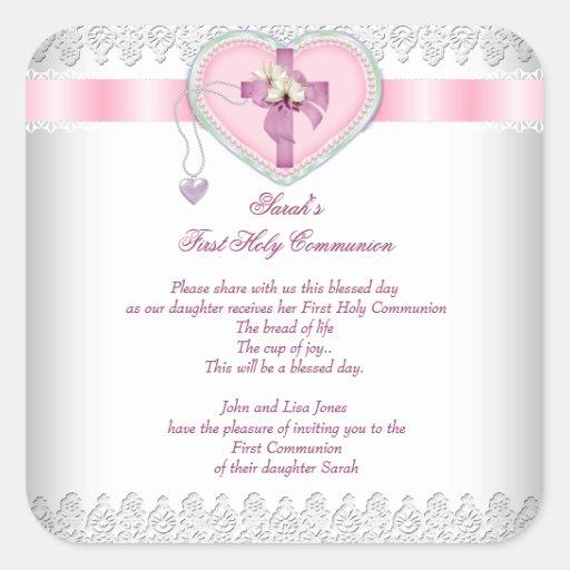 Rosa blanco de los primeros chicas cruzados de la colcomanias cuadradas personalizadas