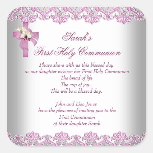 Rosa blanco de los primeros chicas cruzados de la pegatina cuadradas personalizadas