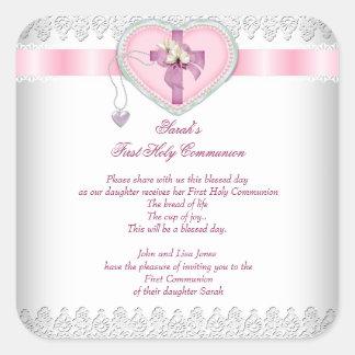 Rosa blanco de los primeros chicas cruzados de la pegatina cuadrada