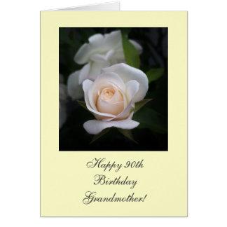 Rosa blanco del 90.o cumpleaños feliz tarjeta de felicitación