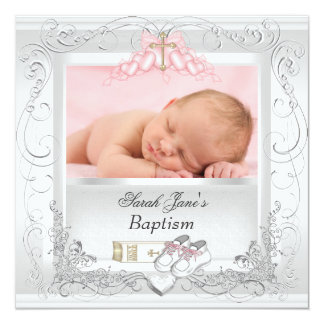 """Rosa blanco del bautismo del bautizo de la niña invitación 5.25"""" x 5.25"""""""