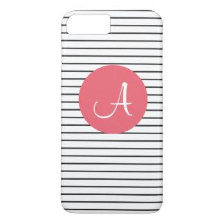 Rosa blanco del negro único del monograma rayado funda iPhone 7 plus