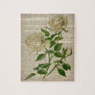 rosa blanco del vintage botánico floral femenino rompecabeza con fotos