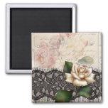 Rosa blanco del vintage del cordón elegante del ne iman para frigorífico