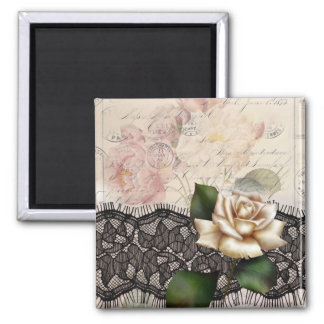Rosa blanco del vintage del cordón elegante del ne imán cuadrado