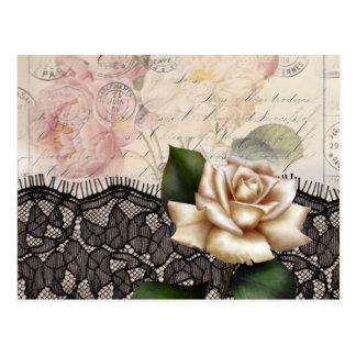 Rosa blanco del vintage del cordón elegante del ne tarjetas postales
