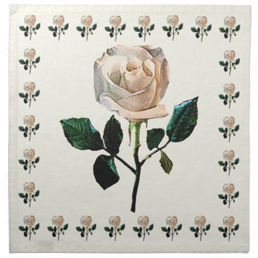 Rosa blanco delicado servilletas imprimidas
