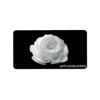Rosa blanco en etiquetas negras del fondo etiqueta de dirección