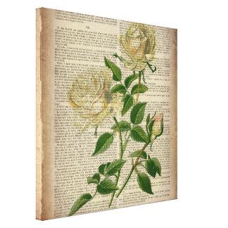 rosa blanco femenino del arte botánico romántico impresion en lona