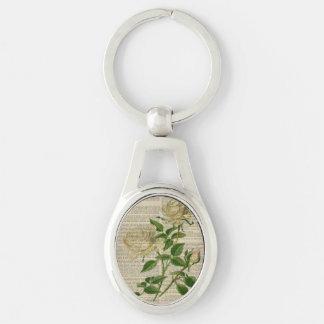 rosa blanco femenino del arte botánico romántico llavero plateado ovalado