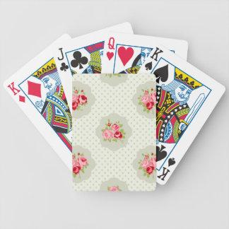 rosa blanco floral rojo del vintage del trullo cartas de juego