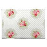 rosa blanco floral rojo del vintage del trullo mantel