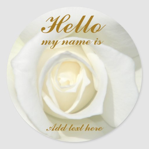 Rosa blanco, Hello_ Etiqueta Redonda