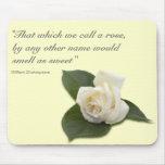 Rosa blanco Mousepad Alfombrilla De Raton