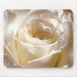 Rosa blanco Mousepad Tapetes De Raton