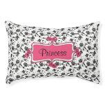 Rosa blanco negro elegante personalizado de la cama para perro pequeño