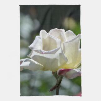 Rosa blanco toallas de cocina