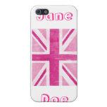 Rosa blanco Reino Unido de la caja de la mota de I iPhone 5 Protector