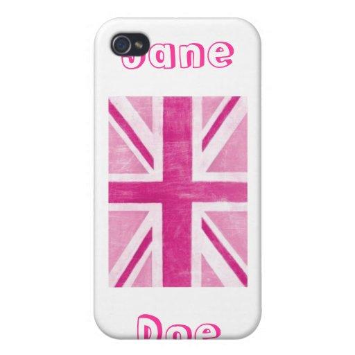 Rosa blanco Reino Unido de la caja de la mota de I iPhone 4 Carcasa