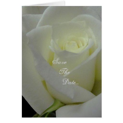 """Rosa blanco """"reserva invitaciones de boda de la fe tarjetón"""