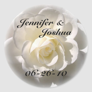 Rosa BLANCO - sello del sobre del boda de la novia Pegatina Redonda