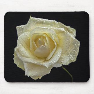Rosa blanco alfombrilla de ratón