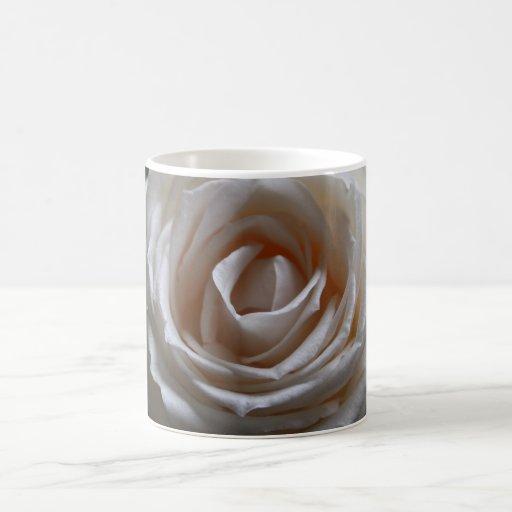 Rosa blanco taza básica blanca
