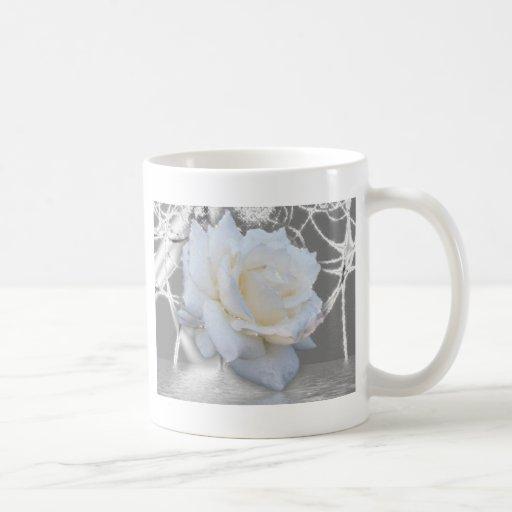 rosa blanco tazas
