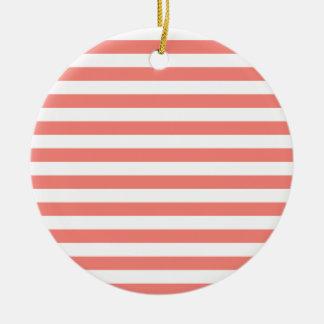 Rosa blanco y del coral de las rayas amplias - ornaments para arbol de navidad