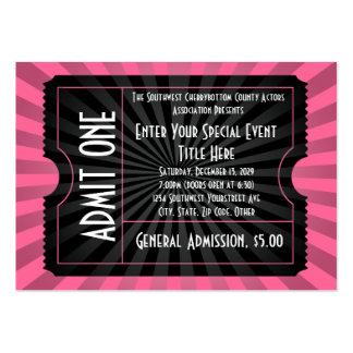 Rosa+ Boleto negro del acontecimiento, tamaño de Tarjeta De Negocio