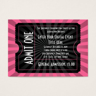 Rosa+ Boleto negro del acontecimiento, tamaño de Tarjetas De Visita Grandes