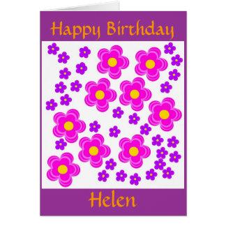 Rosa bonito, tarjeta floral moderna. Birthda feliz