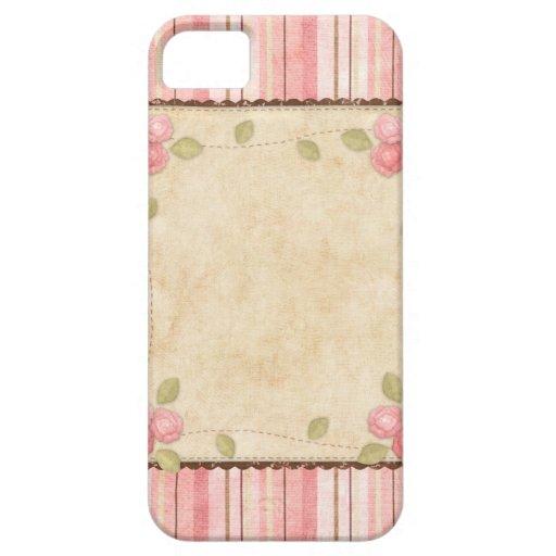 Rosa bonito y rayas y rosas de Brown Funda Para iPhone SE/5/5s