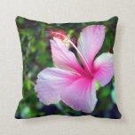 Rosa brillante de la flor del hibisco contra verde almohadas