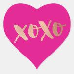 Rosa brillante del AMOR XOXO del oro color de rosa Pegatina En Forma De Corazón