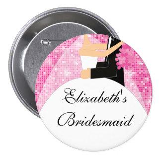 Rosa brillante del botón/Pin de la dama de honor d Pin Redondo 7 Cm