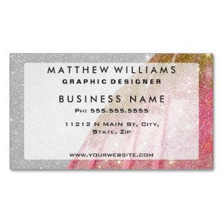 Rosa brillante femenino y brillo del oro falso en tarjetas de visita magnéticas (paquete de 25)
