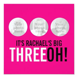 """¡Rosa brillante trigésimo THREEOH! el cumpleaños Invitación 5.25"""" X 5.25"""""""