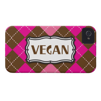 Rosa Brown Argyle del orgullo del vegano Case-Mate iPhone 4 Protector