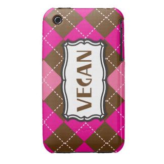 Rosa Brown Argyle del orgullo del vegano iPhone 3 Protector
