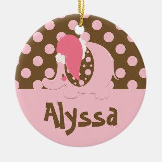 Rosa/Brown del ornamento del navidad del elefante Adorno Para Reyes