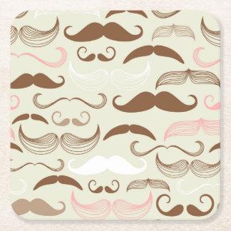 Rosa, Brown y modelo blanco del bigote Posavasos Personalizable Cuadrado