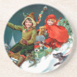 Rosa C. Petherick: Christmas Shopping Drink Coaster