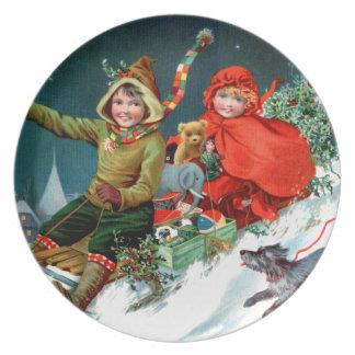 Rosa C. Petherick: Christmas Shopping Melamine Plate